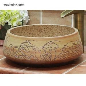 TPAA-069 kingfisher and reed carved pattern ceramic bathroom vanity basin