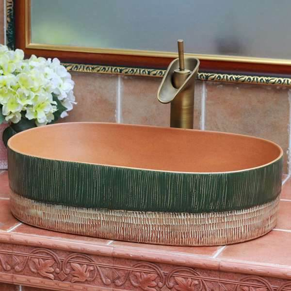 Green and yellow clay style oval pottery sanitary ware sink