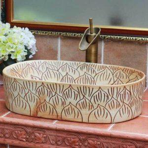 TPAA-102 Carved lotus petal design oval clay washing basin