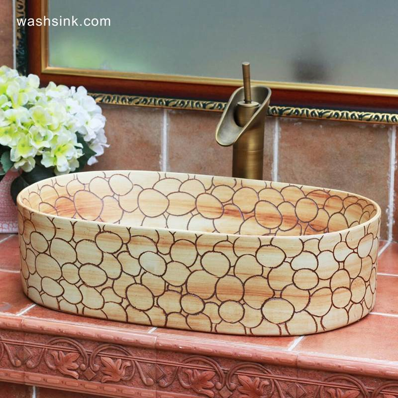 TPAA-103-w56×33×15j3135 TPAA-103 Bubble design hand carved designer bathroom oval ceramic sinks - shengjiang  ceramic  factory   porcelain art hand basin wash sink