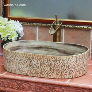TPAA-104 Crockery material leaves carving design oval best ceramic kitchen sinks