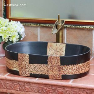TPAA-105 Matte black glaze crude clay carved pattern above counter bathroom sinks