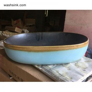 TPAA-107 Sky blue color and yellow rim matte black inside pottery undermount sink