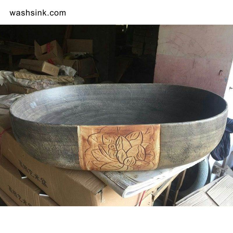 TPAA-108-w58×40×15j3135-1 TPAA-108 Raw gemstone style oval bathroom vanities porcelain bowl for washing - shengjiang  ceramic  factory   porcelain art hand basin wash sink