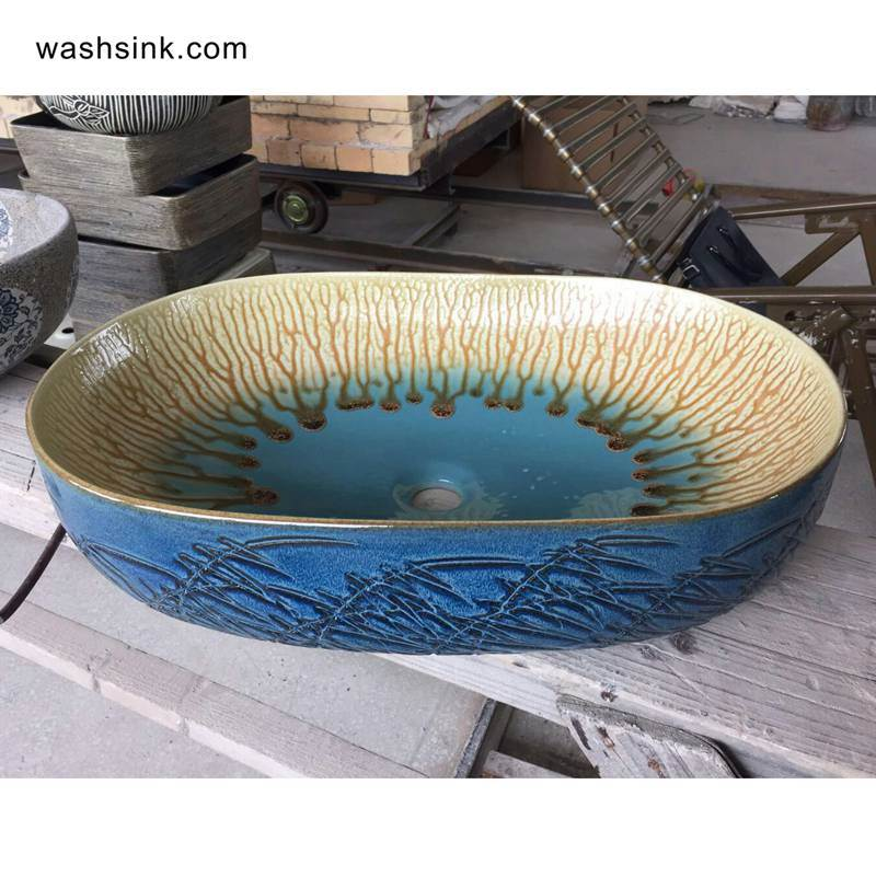 TPAA-109-w58×40×15j3135 TPAA-109 Drip glaze style carved reed pattern oval ceramic sink - shengjiang  ceramic  factory   porcelain art hand basin wash sink