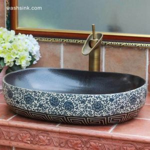 TPAA-110 Blue and white floral pattern and carved vortex pattern oval shape ceramic sink top