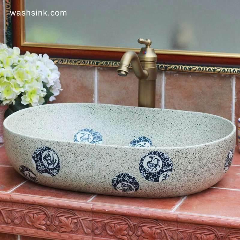 Granite imitation blue and white beast dote design ceramic large sink