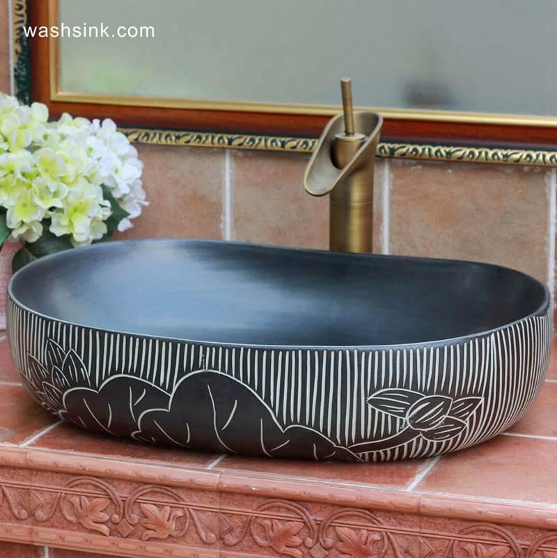 TPAA-112-w58×40×15j3135 TPAA-112 Carved lotus pattern large black pebble imitation China commercial ceramic sink basin - shengjiang  ceramic  factory   porcelain art hand basin wash sink