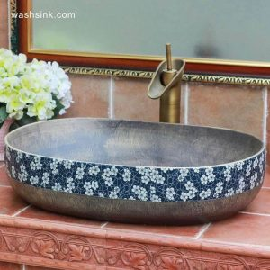 TPAA-113 Grey metal imitation blue and white floral rim oval bathroom bowl sinks