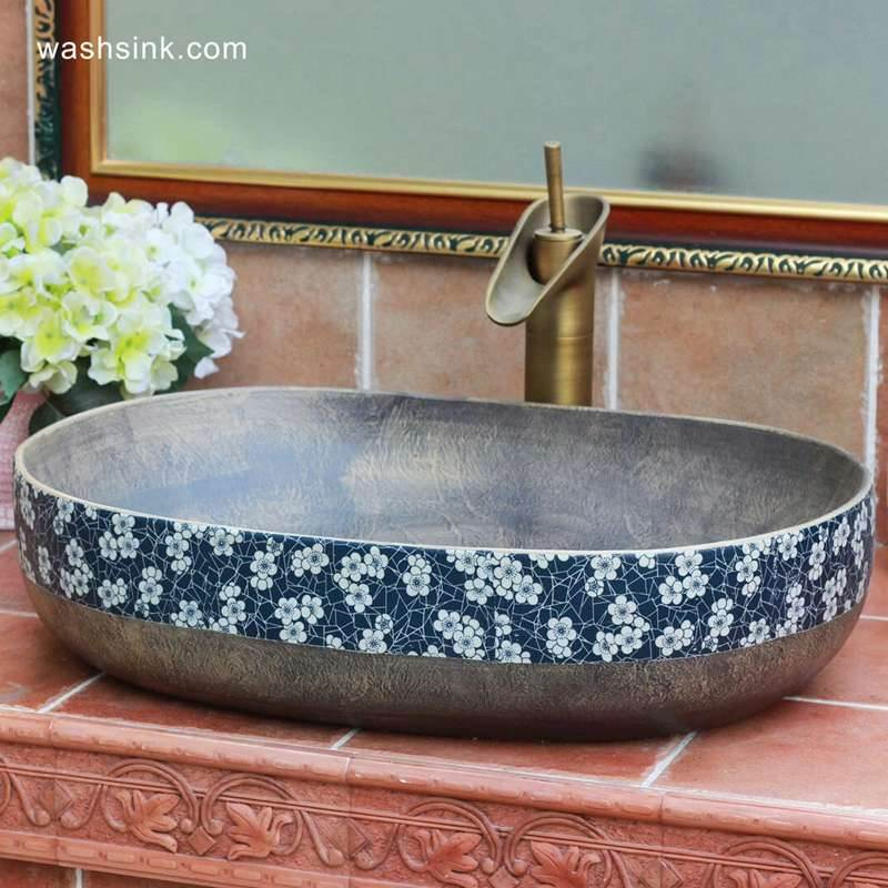 Grey metal imitation blue and white floral rim oval bathroom bowl sinks