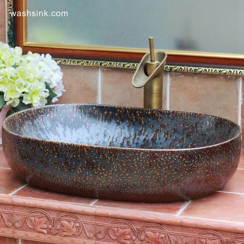 TPAA-114-w58×40×15j3135 TPAA-114 Solar flare glaze oval vintage kitchen sink - shengjiang  ceramic  factory   porcelain art hand basin wash sink