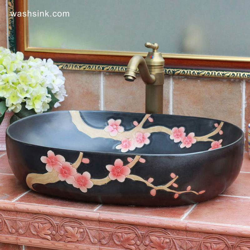 TPAA-117-w58×40×15j3135 TPAA-117 Winter sweet carved pattern matte glaze ceramic oval washing hand basin for restaurant - shengjiang  ceramic  factory   porcelain art hand basin wash sink