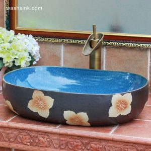 TPAA-118 Mixed style midnight sky blue inside and carved floral pattern oval deep ceramic toilet sink