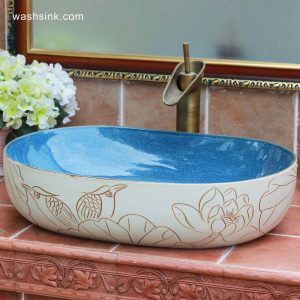 TPAA-121 Jingxi Jingdezhen hand carving lotus bird art pottery lavatory bowl