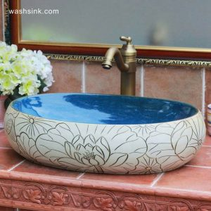 TPAA-152 China supplier direct sale cheap price high quality hand carved lotus flower and leaves ceramic bathroom basin