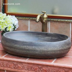 TPAA-153 Shengjiang Ceramics special offer pure hand carved luxury porcelain bathroom corner sink