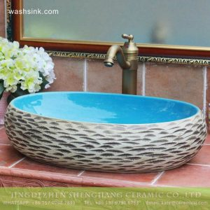 TPAA-155 Carved style ocean blue glaze inside Jingdezhen hot sale long ceramic trough sink vanity