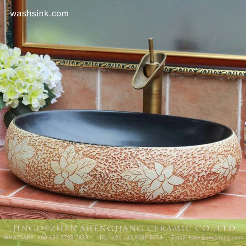 China supplier online sale carved floral pattern matte black glaze easy clean Jingdezhen ceramic kitchen art basin