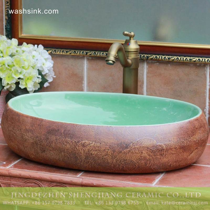 Turquoise color with rough stone style Jingdezhen Shengjiang ceramic bathroom vanity tops