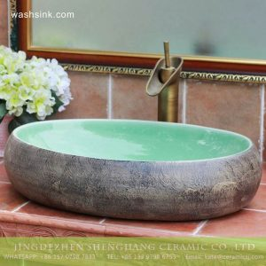 TPAA-159 Turquoise stone style China factory sale inexpensive bathroom porcelain vanities