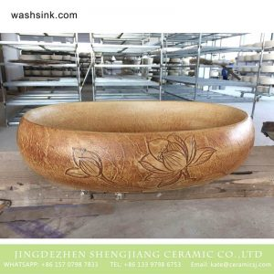 TPAA-160 Jinagxi Jingdezhen hand carved Buddha lotus pattern pottery discount toilet trough