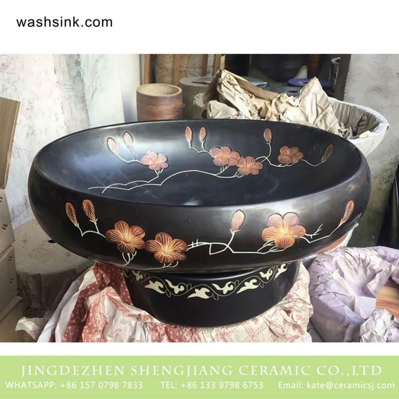 Jingdezhen wholesaler offered winter sweet pattern ceramic vanity unit