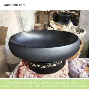 TPAA-170 Asian oval matte black plain color porcelain cupboard bath wash basin