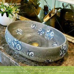 TPAA-175 Wholesale price Jiangxi Jingdezhen blue and white dot authentic oval clay basin