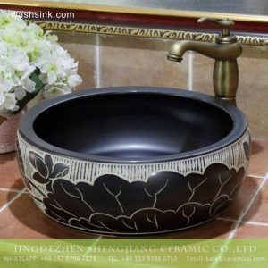 TPAA-201 Jingdezhen Shengjiang ceramic factory direct sale to Real estate decor black ceramic fountain basin