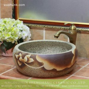 TPAA-203 China wholesale cheap price yellow lotus ceramic thick wash basin