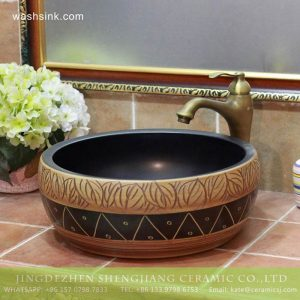 TPAA-204 Jingdezhen large bulk sale hand carved leaves round ceramic lavabo