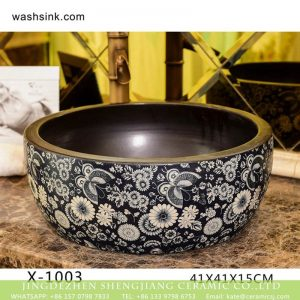 XHTC-X-1003-1 Jingdezhen factory wholesale price black and white flower pattern ceramic wash basin