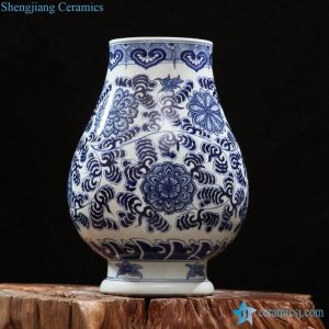 RZFQ24 Fancy hand painted blue and white Jingdezhen traditional floral ceramic vase