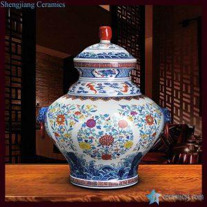 RZLG03 Colorful floral pattern unique design Jingdezhen manufacture offers porcelain temple jar