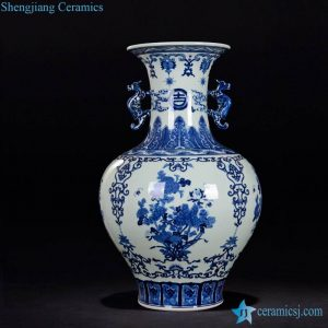 RZLG04 Asian beauty blue and white hand paint floral pattern ceramic vase with dragon handles