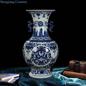 RZLG05 Double fishes pattern hand craft blue and white collectible porcelain vase with ears