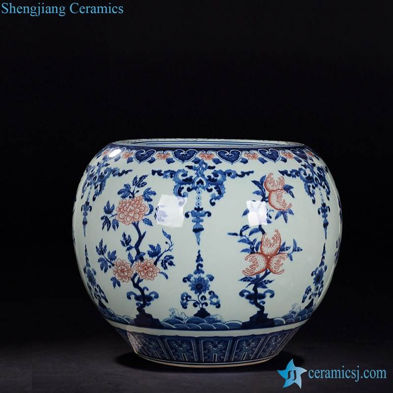 Blue and white with under glaze red hand painted finger citron pattern apple shape ceramic vase