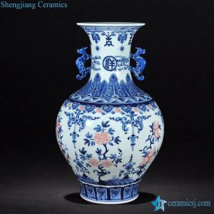 RZLG09 Jingdezhen China aesthetic blue and white with red finger citron pattern ceramic vase