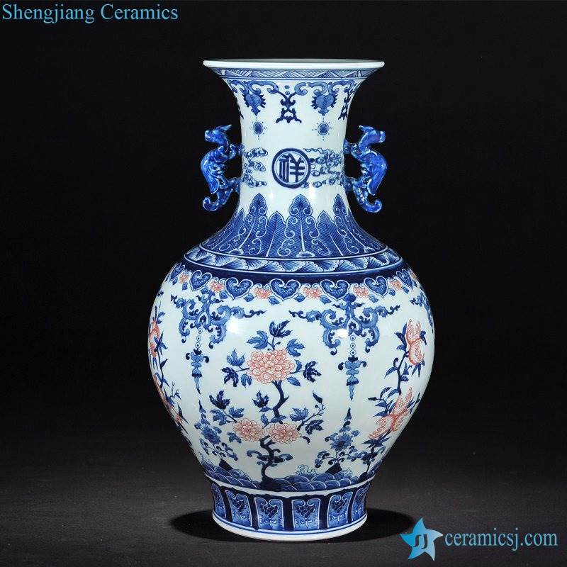 Jingdezhen China aesthetic blue and white with red finger citron pattern ceramic vase