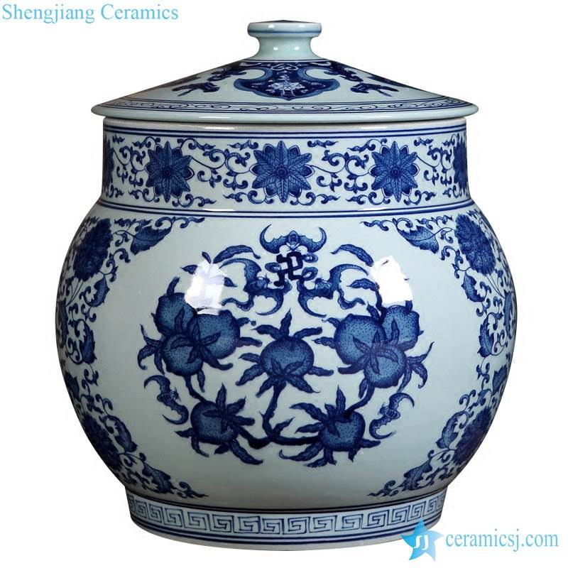 blue and white Jingdezhen style hand draft peach pattern ceramic ball shape jar with lid