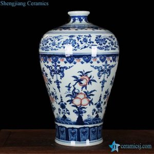 RZLG11 RZLG11 Hand paint peach floral pattern blue white red color porcelain vase for online sale