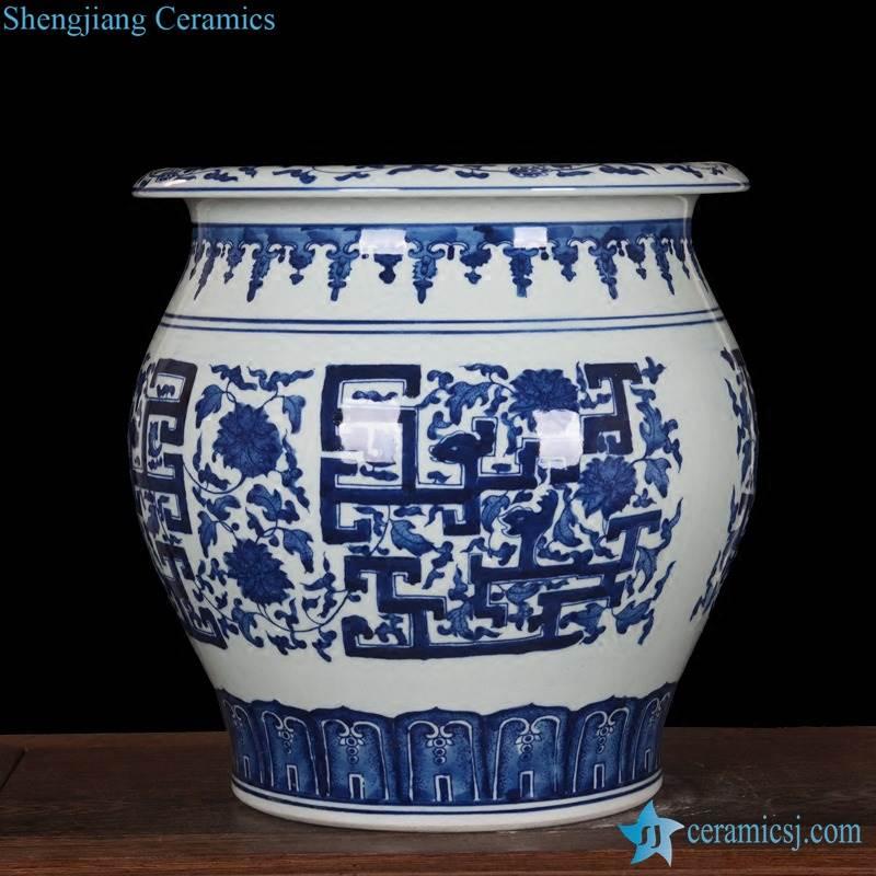 Cobalt blue shinny glaze hand paint ceramic pot
