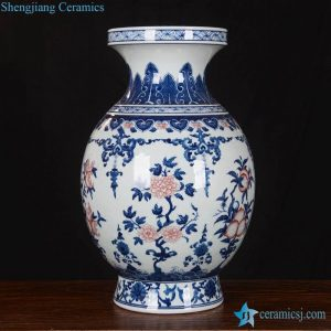 RZLG13 Round belly hand paint planters pattern blue red porcelain decorative vase
