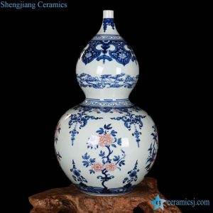 RZLG14 Gourd shape China auspicious pattern factory ceramic vase for export