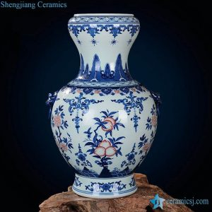 RZLG15 Under glaze red peach pattern blue and white plump shape enamel vase