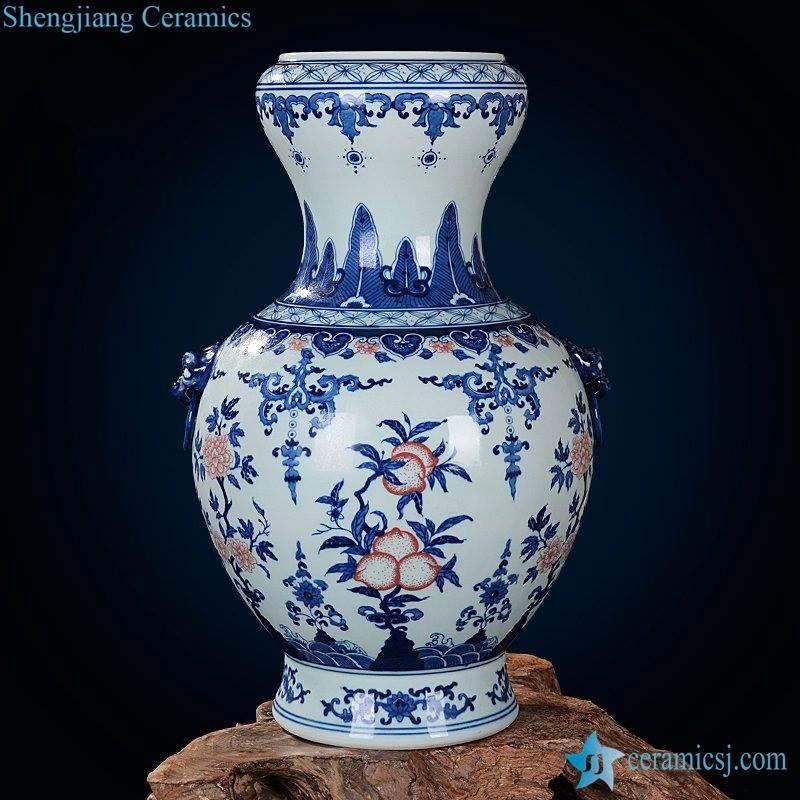 Under glaze red peach pattern blue and white plump shape enamel vase