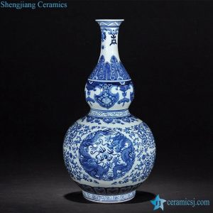 RZLG16 Blue and white hand paint double dragon pattern JDZ factory direct sale calabash ceramic flower vase