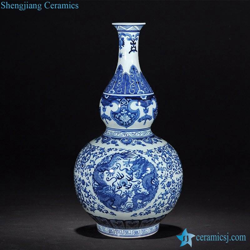 Blue and white hand paint double dragon pattern JDZ factory direct sale calabash ceramic flower vase