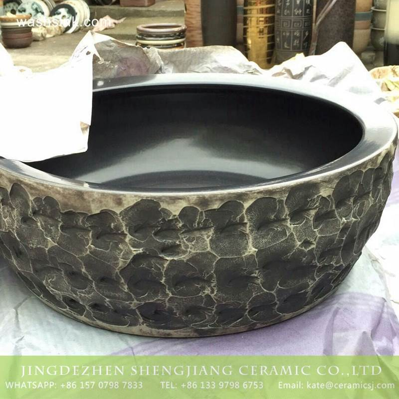 China factory offering stone style thicken wall portable counter top ceramic wash basin bowl