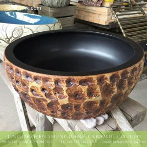 TPAA-208 16 inches diameter Shengjiang ceramics factory hand carving ceramic round basin